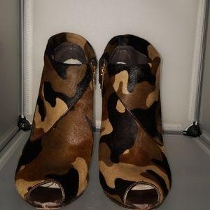 Michael Kors Camo Calfskin Peep Toe Booties